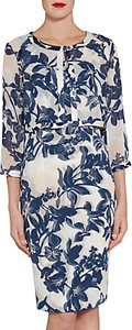 Read more about Gina bacconi printed chiffon dress and jacket with satin trims navy nude