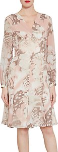 Read more about Gina bacconi watercolour floral print chiffon dress taupe blush