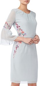 Read more about Raishma pleated sleeve floral dress ice blue