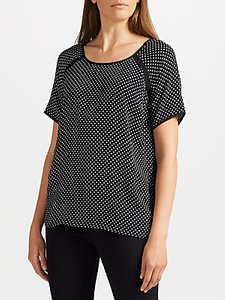 Read more about Collection weekend by john lewis micro floral print short sleeve top black white