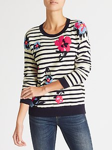 Read more about Collection weekend by john lewis floral stripe intarsia jumper navy white