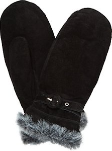 Read more about John lewis fur trim thermal suede mittens black