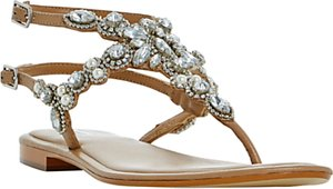 Read more about Dune nuevo jewelled sandals tan