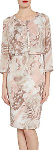 Read more about Gina bacconi printed dress and chiffon jacket with satin trims taupe blush