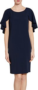 Read more about Gina bacconi moss crepe dress with bead trimmed cape detail