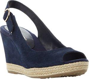 Read more about Dune wide fit klick wedge heel sandals navy suede