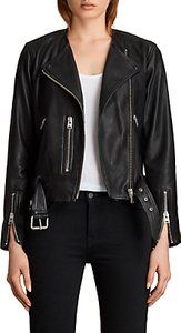 Read more about Allsaints leather collarless balfern biker jacket black