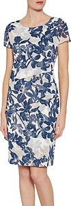 Read more about Gina bacconi floral print satin dress with chiffon band navy nude