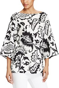 Read more about Lauren ralph lauren paisley print crepe tunic top pearl black