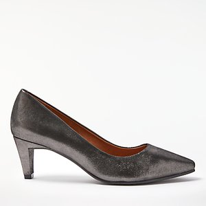Read more about John lewis aleah block heeled court shoes metallic lumia leather