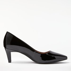 Read more about John lewis aleah block heeled court shoes black patent leather