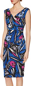 Read more about Gina bacconi abstract floral print jersey dress cobalt
