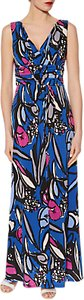Read more about Gina bacconi abstract floral print jersey maxi dress cobalt blue