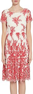 Read more about Gina bacconi dainty embroidered lace dress red