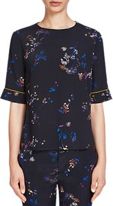 Read more about Oui printed elbow sleeve blouse dark blue yellow