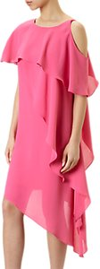Read more about Adrianna papell gauzy crepe one shoulder shift dress fiesta pink
