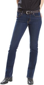 Read more about Levi s 714 mid rise straight jeans city blues