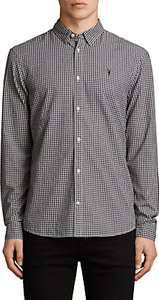 Read more about Allsaints quarry check slim fit shirt ink navy ecru white