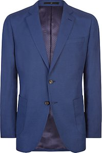 Read more about Jaeger silk linen regular fit suit jacket mid blue