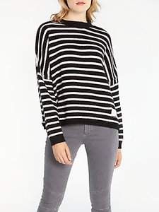 Read more about And or stripe boxy knit jumper black ivory