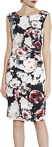 Read more about Gina bacconi floral print sleeveless jersey dress coral