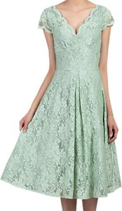 Read more about Jolie moi cap sleeve scalloped lace dress light green