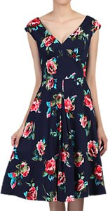 Read more about Jolie moi floral sweetheart neck swing dress navy