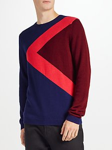 Read more about Kin by john lewis triangle block jumper navy red
