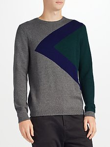 Read more about Kin by john lewis triangle block jumper grey navy