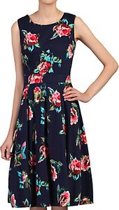 Read more about Jolie moi floral pleated swing dress navy cherry
