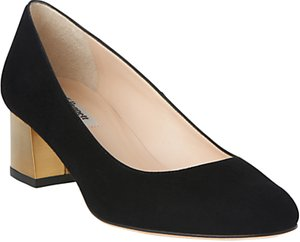 Read more about L k bennett maisy block heeled court shoes black gold suede