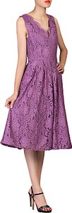 Read more about Jolie moi scalloped dress dark mauve