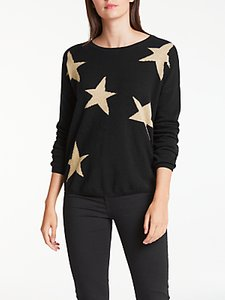 Read more about Wyse london maddy large star slouchy cashmere jumper black gold