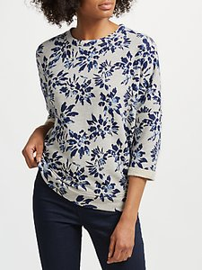 Read more about Collection weekend by john lewis japanese floral print top grey navy