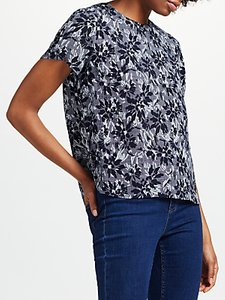 Read more about Collection weekend by john lewis japanese floral print short sleeve top navy