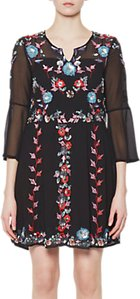 Read more about French connection edith floral bell sleeve flared dress black multi