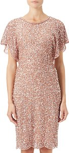 Read more about Adrianna papell flutter sleeve beaded dress rose gold