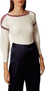 Read more about Karen millen kb026 deconstructed cold shoulder jumper ivory berry