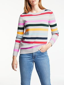 Read more about Boden cashmere striped crew neck jumper silver melange stripe