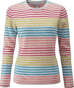 Read more about Pure collection striped crew neck cashmere jumper colour pop stripe