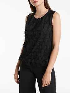 Read more about Max studio sleeveless fringe detail top black