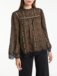 Read more about Max studio long sleeve paisley blouse wine