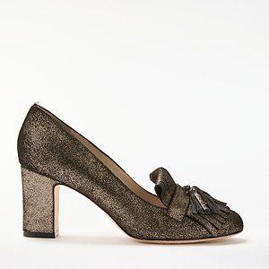 Read more about Boden pippa block heeled loafer court shoes gold crackle