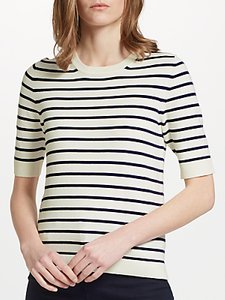 Read more about John lewis half sleeve crew neck jumper ivory navy