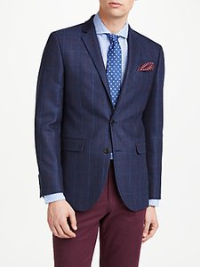 Read more about John lewis wool check tailored blazer navy
