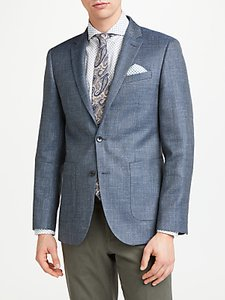 Read more about John lewis wool silk linen basketweave tailored blazer grey