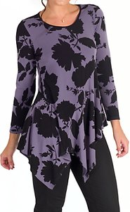 Read more about Chesca hyacinth floral print tunic top purple black