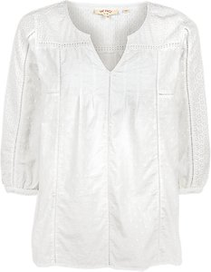 Read more about Fat face phoebe broderie popover blouse white