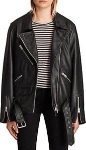 Read more about Allsaints oversized leather biker jacket black
