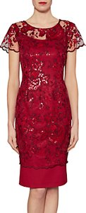 Read more about Gina bacconi annabelle embroidered sequin dress wine